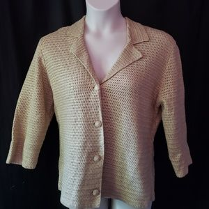 Chico's Gold Knit Sweater Jacket 3 XL